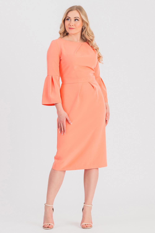 ПлатьеПлатья<br>Ищите способ обратить на себя внимание Это прелестное платье в романтичном стиле привлечет восторженные взгляды  Платье приталенного силуэта с втачным поясом по талии. На передней части лифа асимметричные складки от горловины, на юбке складки. На спинке талиевые вытачки, средний шов с молнией и шлицей. Горловина обработана обтачкой. Рукав втачной, 7/8, с широким воланом по низу.  Цвет: коралловый.  Длина рукава - 51 ± 1 см  Рост девушки-фотомодели 170 см  Длина изделия - 106 ± 2 см<br><br>Горловина: Лодочка,С- горловина<br>По длине: Ниже колена<br>По материалу: Тканевые<br>По образу: Город,Свидание<br>По рисунку: Однотонные<br>По сезону: Зима,Осень,Весна<br>По силуэту: Приталенные<br>По стилю: Нарядный стиль,Романтический стиль<br>По форме: Платье - футляр<br>По элементам: С декором,С манжетами,С молнией,С разрезом,Со складками<br>Разрез: Шлица<br>Рукав: Рукав три четверти<br>Размер : 48,50,52,54,56,58<br>Материал: Плательная ткань<br>Количество в наличии: 35