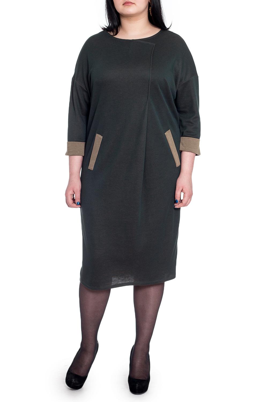 ПлатьеПлатья<br>Это гармоничное женское платье из приятного к телу трикотажа станет основой Вашего повседневного гардероба. Изумительно садясь по фигуре, это платье маскирует ее проблемные зоны.  Платье силуэта quot;баллонquot; с диагональной складкой и декоративными листочками на передней части изделия. На спинке средний шов и шлица. Горловина обработана обтачкой. Рукав рубашечный, 3/4, со спущенной линией плеча и манжетой на отворот.  Цвет: зеленый.  Длина рукава (от конечной плечевой точки) - 49 ± 1 см  Рост девушки-фотомодели 170 см  Длина изделия: 46 размер - 103 ± 2 см 48 размер - 103 ± 2 см 50 размер - 103 ± 2 см 52 размер - 103 ± 2 см 54 размер - 106 ± 2 см 56 размер - 106 ± 2 см 58 размер - 106 ± 2 см<br><br>Горловина: С- горловина<br>По длине: Ниже колена<br>По материалу: Трикотаж<br>По рисунку: Однотонные<br>По силуэту: Свободные<br>По стилю: Кэжуал,Повседневный стиль<br>По форме: Платье - баллон<br>По элементам: С декором,С карманами,С манжетами,С разрезом,Со складками<br>Разрез: Шлица<br>Рукав: Рукав три четверти<br>По сезону: Осень,Весна<br>Размер : 52,54,56,58<br>Материал: Трикотаж<br>Количество в наличии: 24