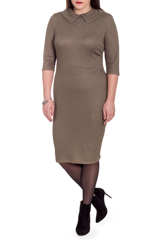 ПлатьеПлатья<br>Классика и элегантность - это залог успеха для создания Вашего повседневного образа. Дополните это стильное платье модными аксессуарами и завершите образ успешной женщины  Платье приталенного силуэта, отрезное по линии талии. На передней части лифа средний шов и маленькая кокетка с отстрочкой. На спинке средний шов с молнией и шлицей. Воротник quot;отложнойquot;. Рукав втачной. 3/4.  Цвет: серо-коричневый.  Длина рукава - 41 ± 1 см  Рост девушки-фотомодели 172 см  Длина изделия: 46 размер - 105 ± 2 см 48 размер - 105 ± 2 см 50 размер - 105 ± 2 см 52 размер - 105 ± 2 см 54 размер - 107 ± 2 см 56 размер - 107 ± 2 см 58 размер - 107 ± 2 см<br><br>Воротник: Отложной<br>По длине: Ниже колена<br>По материалу: Трикотаж<br>По рисунку: Однотонные<br>По силуэту: Приталенные<br>По стилю: Классический стиль,Кэжуал,Офисный стиль,Повседневный стиль<br>По форме: Платье - карандаш,Платье - футляр<br>По элементам: С воротником,С молнией,С разрезом<br>Разрез: Шлица<br>Рукав: Рукав три четверти<br>По сезону: Осень,Весна<br>Размер : 50,52<br>Материал: Трикотаж<br>Количество в наличии: 2