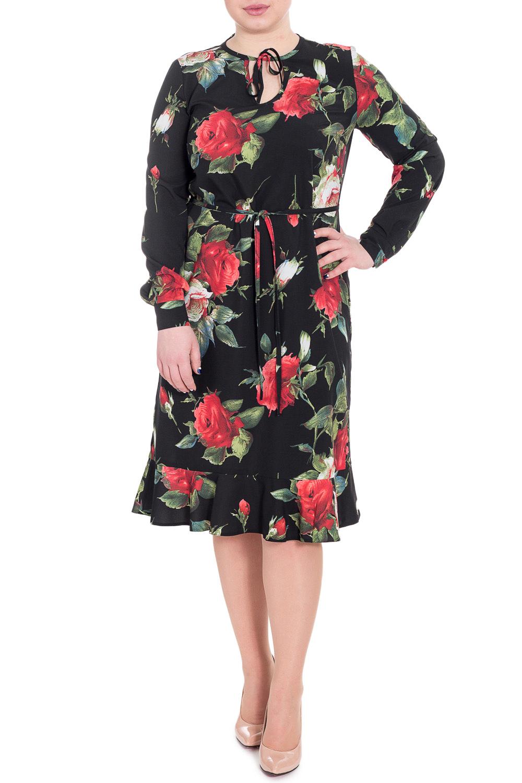 ПлатьеПлатья<br>Повседневно-нарядное платье прекрасно подойдет как для праздника, так и для романтичной встречи. В наших платьях Вы будете выглядеть очаровательно на протяжении всего дня.  Платье прямого силуэта с воланом по низу и съемным поясом - шнурком. На спинке средний шов. Горловина и капелька окантованы с завязками. Рукав втачной, длинный, с притачной манжетой с застежкой на пуговицу.  В изделии использованы цвета: черный, красный, зеленый.  Длина рукава - 60 ± 1 см  Рост девушки-фотомодели 170 см  Длина изделия - 107 ± 2 см<br><br>Горловина: Фигурная горловина<br>По длине: Ниже колена<br>По материалу: Тканевые<br>По рисунку: Растительные мотивы,С принтом,Цветные,Цветочные<br>По силуэту: Прямые<br>По стилю: Нарядный стиль,Повседневный стиль<br>По элементам: С воланами и рюшами,С декором,С завязками,С манжетами,С поясом,С фигурным низом<br>Рукав: Длинный рукав<br>По сезону: Осень,Весна<br>Размер : 48,50,52,56<br>Материал: Плательная ткань<br>Количество в наличии: 18