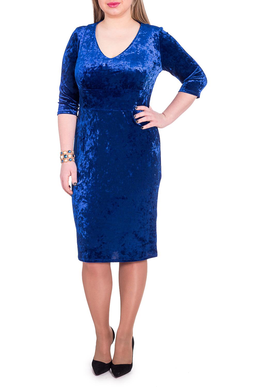 ПлатьеПлатья<br>Эксклюзивное платье из мягкого бархата. Модель выглядит очень женственно и неординарно. Не упустите шанс купить это шикарное платье  Платье приталенного силуэта с втачным широким поясом под грудью. На передней части лифа сборка. На спинке средний шов и шлица. Горловина обработана обтачкой. Рукав втачной, 3/4.  Цвет: синий.  Длина рукава - 40 ± 1 см  Рост девушки-фотомодели 170 см  Длина изделия: 46 размер - 105 ± 2 см 48 размер - 105 ± 2 см 50 размер - 105 ± 2 см 52 размер - 105 ± 2 см 54 размер - 108 ± 2 см 56 размер - 108 ± 2 см 58 размер - 108 ± 2 см<br><br>Горловина: V- горловина<br>По длине: Ниже колена<br>По материалу: Бархат<br>По рисунку: Однотонные<br>По сезону: Весна,Зима,Осень,Всесезон<br>По силуэту: Приталенные<br>По стилю: Нарядный стиль,Вечерний стиль<br>По форме: Платье - футляр<br>По элементам: С вырезом,С разрезом<br>Разрез: Шлица<br>Рукав: Рукав три четверти<br>Размер : 48,50<br>Материал: Бархат<br>Количество в наличии: 10