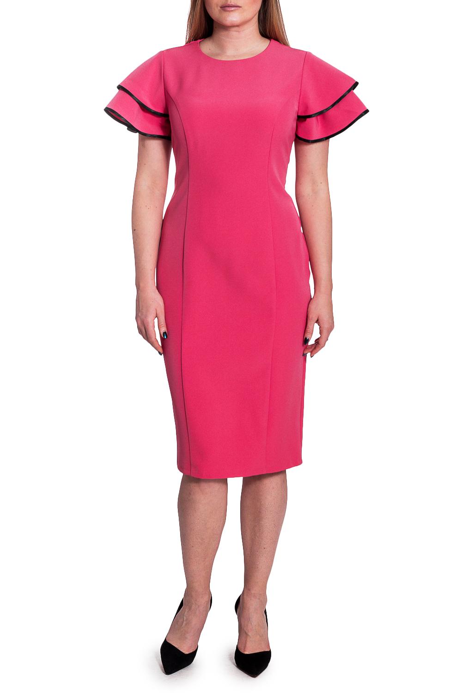 ПлатьеПлатья<br>Это изысканное женское платье станет главным секретом элегантности и ключиком к безупречному образу. Если Вы предпочитаете женственный стиль, эта модель станет незаменимым предметом гардероба.  Платье приталенного силуэта с рельефами на передней части изделия. На спинке талиевые вытачки, средний шов с молнией и шлицей. Горловина обработана обтачкой. Рукава втачные-воланы, в два яруса, короткие, с зауженной линией плеча и окантованными срезами.  Цвет: розовый.  Длина рукава - 21 ± 1 см  Рост девушки-фотомодели 170 см  Длина изделия: 46 размер - 102 ± 2 см 48 размер - 102 ± 2 см 50 размер - 102 ± 2 см 52 размер - 102 ± 2 см 54 размер - 105 ± 2 см 56 размер - 105 ± 2 см 58 размер - 105 ± 2 см<br><br>Горловина: С- горловина<br>По длине: Ниже колена<br>По материалу: Тканевые<br>По образу: Свидание<br>По рисунку: Однотонные<br>По сезону: Весна,Зима,Лето,Осень,Всесезон<br>По силуэту: Приталенные<br>По стилю: Классический стиль,Нарядный стиль,Повседневный стиль,Романтический стиль<br>По форме: Платье - карандаш,Платье - футляр<br>По элементам: С воланами и рюшами,С декором,С молнией,С разрезом<br>Разрез: Шлица<br>Рукав: Короткий рукав<br>Размер : 48,50,52,54,56,58<br>Материал: Плательная ткань<br>Количество в наличии: 9