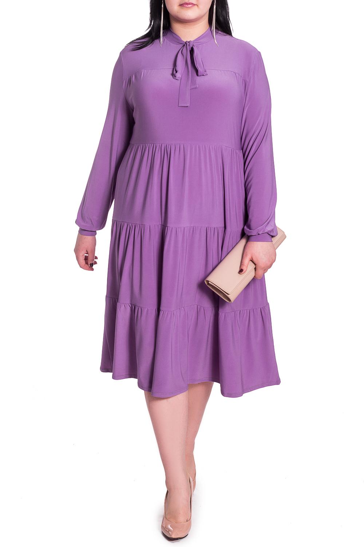 ПлатьеПлатья<br>Элегантное и женственное платье, которое подойдет любому типу фигуры, выполненное из приятного телу трикотажа. Изделие станет идеальным вариантом повседневного или выходного наряда  Платье силуэта quot;трапецияquot;, свободное по объему, многоярусное. На переде кокетка, вырез quot;щельquot;, воротник- quot;стойкаquot;, переходящий в бант. Рукава длинные, свободные, на манжете. Длина ниже колена.  Цвет: сиреневый.  Длина рукава - 61 ± 1 см  Рост девушки-фотомодели 170 см  Длина изделия - 108 ± 2 см<br><br>Воротник: Стойка,Фантазийный<br>По длине: Ниже колена<br>По материалу: Трикотаж<br>По рисунку: Однотонные<br>По силуэту: Свободные<br>По стилю: Повседневный стиль,Романтический стиль<br>По форме: Платье - трапеция<br>По элементам: С воротником,С декором,С завязками,С манжетами,Со складками<br>Рукав: Длинный рукав<br>По сезону: Осень,Весна<br>Размер : 48,50,52,54,56,58<br>Материал: Трикотаж<br>Количество в наличии: 16