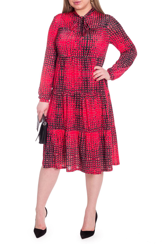 ПлатьеПлатья<br>Эксклюзивное платье из струящегося трикотажа. Эта модель выглядит очень женственно и неординарно.  Платье силуэта quot;трапецияquot;, свободное по объему, многоярусное. На переде кокетка, вырез quot;щельquot;, воротник quot;стойкаquot;, переходящий в бант. Рукава длинные свободные на манжете. Длина ниже колена.  Цвет: красный с черными вставками.  Длина рукава - 61 ± 1 см  Рост девушки-фотомодели 170 см  Длина изделия - 108 ± 2 см  При создании образа, который Вы видите на фотографии, также была использована стильная сумка арт. SMK12016. Для просмотра модели введите артикул в строке поиска.<br><br>Воротник: Стойка,Фантазийный<br>По длине: Ниже колена<br>По материалу: Трикотаж<br>По рисунку: Рептилия,С принтом,Цветные<br>По силуэту: Свободные<br>По стилю: Нарядный стиль,Повседневный стиль<br>По форме: Платье - трапеция<br>По элементам: С воротником,С декором,С манжетами<br>Рукав: Длинный рукав<br>По сезону: Осень,Весна<br>Размер : 50,52,54,56<br>Материал: Трикотаж<br>Количество в наличии: 5