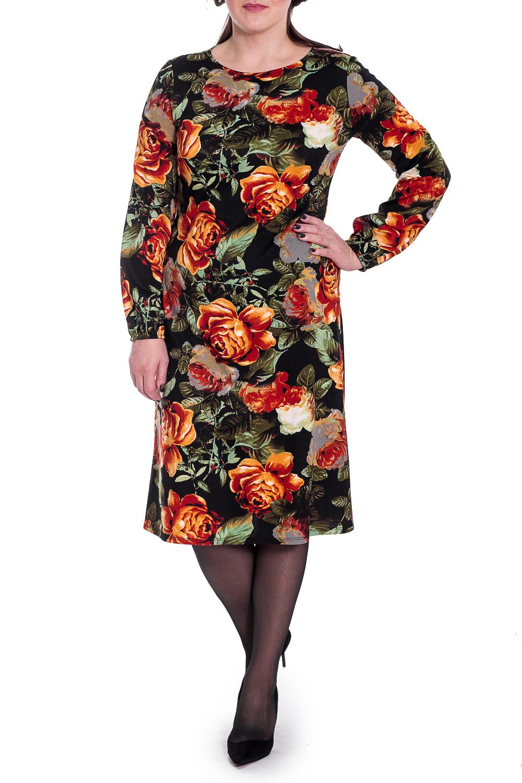 ПлатьеПлатья<br>Это очаровательное женское платье станет идеальным вариантом повседневного или выходного наряда. Цветочный принт украсит любую леди.  Платье полуприлегающего силуэта, чуть расширенное к низу. На спинке средний шов. Горловина круглая. Рукав втачной, длинный, с резинкой по низу.  В изделии использованы цвета: черный, оранжевый, зеленый и др.  Длина рукава - 61 ± 1 см  Рост девушки-фотомодели 172 см  Длина изделия: 46 размер - 103 ± 2 см 48 размер - 103 ± 2 см 50 размер - 103 ± 2 см 52 размер - 103 ± 2 см 54 размер - 106 ± 2 см 56 размер - 106 ± 2 см 58 размер - 106 ± 2 см<br><br>Горловина: С- горловина<br>По длине: Ниже колена<br>По материалу: Трикотаж<br>По образу: Город,Свидание<br>По рисунку: Растительные мотивы,С принтом,Цветные,Цветочные<br>По сезону: Зима,Осень,Весна<br>По силуэту: Полуприталенные<br>По стилю: Повседневный стиль<br>Рукав: Длинный рукав<br>Размер : 48,50,52,54<br>Материал: Трикотаж<br>Количество в наличии: 16