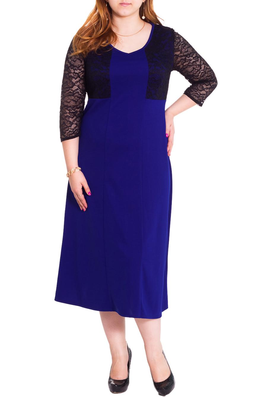 ПлатьеПлатья<br>Нарядное женственное платье силуэта трапеция с имитацией болеро из гипюра. На передней части изделия рельефы. На спинке средний шов. Горловина окантована. Рукав втачной, 3/4. Цвет: синий, черный.  Длина рукава - 45 ± 1 см  Рост девушки-фотомодели 169 см  Длина изделия - 120 ± 2 см<br><br>Горловина: С- горловина<br>По длине: Миди,Ниже колена<br>По материалу: Гипюр,Трикотаж<br>По образу: Выход в свет,Свидание<br>По рисунку: Однотонные<br>По сезону: Весна,Всесезон,Зима,Лето,Осень<br>По силуэту: Полуприталенные,Свободные<br>По стилю: Нарядный стиль<br>По форме: Платье - трапеция<br>По элементам: С декором,С завышенной талией<br>Рукав: Рукав три четверти<br>Размер : 46,48,50,52,54,56,58<br>Материал: Трикотаж + Гипюр<br>Количество в наличии: 14