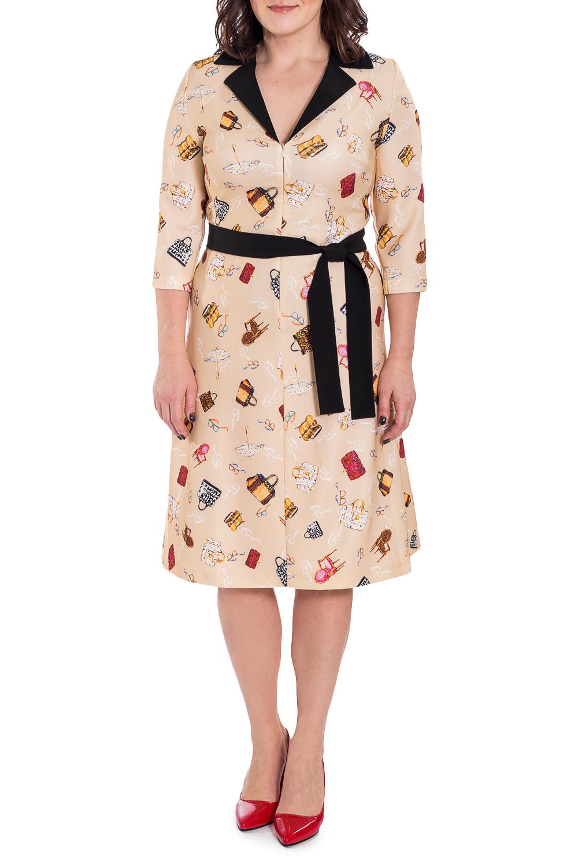 ПлатьеПлатья<br>Это чудесное платье станет главным секретом элегантности и ключиком к безупречному образу. Модель станет незаменимым предметом гардероба  Платье приталенного силуэта со съемным поясом. На передней части изделия средний шов с молнией. На спинке средний шов и талиевые вытачки. Воротник пиджачного типа. Рукав втачной, 3/4, с притачной манжетой по низу.  Цвет: бежевый и др.  Длина рукава (от конечной плечевой точки) - 45 ± 1 см  Рост девушки-фотомодели 172 см  Длина изделия - 110 ± 2 см<br><br>Воротник: Стояче-отложной<br>Горловина: V- горловина<br>По длине: Ниже колена<br>По материалу: Тканевые<br>По рисунку: С принтом,Цветные<br>По силуэту: Приталенные<br>По стилю: Винтаж,Кэжуал,Повседневный стиль<br>По форме: Платье - трапеция<br>По элементам: С воротником,С вырезом,С декором,С манжетами,С молнией,С поясом<br>Рукав: Рукав три четверти<br>По сезону: Осень,Весна<br>Размер : 48,50,56,58<br>Материал: Плательная ткань<br>Количество в наличии: 16