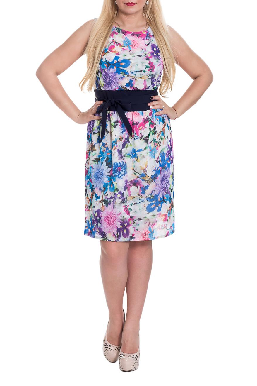 ПлатьеПлатья<br>Очаровательное женское платье из струящегося шифона, на подкладке. Верхняя часть платья с напуском. Втачной пояс по талии из отделочной ткани.  Цвет: мультицвет.  Длина изделия: 42 размер - 95 ± 2 см 44 размер - 95 ± 2 см 46 размер - 95 ± 2 см 48 размер - 97 ± 2 см 50 размер - 97 ± 2 см 52 размер - 97 ± 2 см 54 размер - 99 ± 2 см 56 размер - 99 ± 2 см 58 размер - 101 ± 2 см 60 размер - 101 ± 2 см  Рост девушки-фотомодели 170 см<br><br>Горловина: С- горловина<br>По длине: До колена<br>По материалу: Шифон<br>По образу: Город,Круиз,Свидание<br>По рисунку: Растительные мотивы,С принтом,Цветные,Цветочные<br>По силуэту: Полуприталенные<br>По стилю: Летний стиль,Повседневный стиль,Романтический стиль<br>По элементам: С декором,С подкладом<br>Рукав: Без рукавов<br>По сезону: Лето<br>По форме: Платье - футляр<br>Размер : 46,48,50<br>Материал: Шифон<br>Количество в наличии: 8