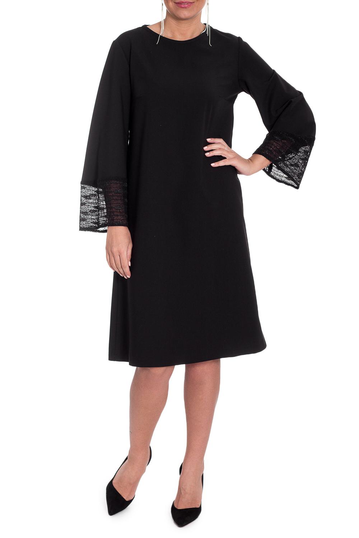 ПлатьеПлатья<br>Элегантное и женственное платье, которое подойдет любому типу фигуры, выполненное из приятного телу мсатериала с гипюровыми вставками.  Платье силуэта трапеция. На спинке средний шов. Горловина окантована. Рукав втачной, 7/8, расширен книзу, с гипюром по низу.  Цвет: черный.  Длина рукава (от конечной плечевой точки) - 56 ± 1 см  Рост девушки-фотомодели 170 см  Длина изделия: 46 размер - 104 ± 2 см 48 размер - 104 ± 2 см 50 размер - 104 ± 2 см 52 размер - 104 ± 2 см 54 размер - 106 ± 2 см 56 размер - 106 ± 2 см 58 размер - 106 ± 2 см<br><br>Горловина: С- горловина<br>По длине: Ниже колена<br>По материалу: Тканевые<br>По рисунку: Однотонные<br>По сезону: Весна,Зима,Осень,Всесезон<br>По силуэту: Свободные<br>По стилю: Классический стиль,Нарядный стиль,Повседневный стиль<br>По форме: Платье - трапеция<br>По элементам: С декором<br>Рукав: Длинный рукав<br>Размер : 48,50<br>Материал: Плательная ткань + Гипюр<br>Количество в наличии: 5