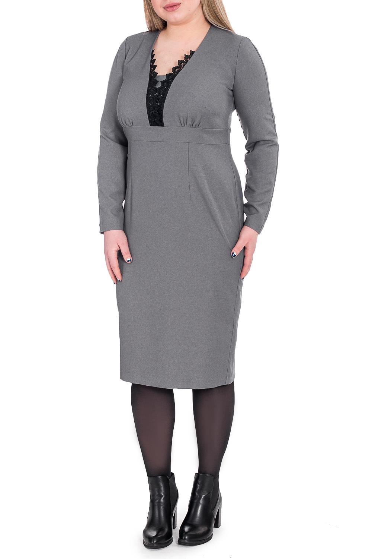 ПлатьеПлатья<br>Это женское платье однотонной расцветки - классика стиля. Сдержанная и одновременно соблазнительная, эта модель остается эталоном элегантности и вкуса.  Платье приталенного силуэта с втачным поясом выше линии талии. На передней части лифа сборка. На спинке талиевые вытачки и средний шов с молнией и шлицей. Горловина обработана обтачкой со вставкой и кружевом на передней части. Рукав, длинный, со швом по центру, овальной формы.  Цвет: серый.  Длина рукава (от конечной плечевой точки) - 60 ± 1 см  Рост девушки-фотомодели 170 см  Длина изделия - 103 ± 2 см<br><br>Горловина: Фигурная горловина<br>По длине: Ниже колена<br>По материалу: Тканевые<br>По рисунку: Однотонные<br>По сезону: Зима,Осень,Весна<br>По силуэту: Приталенные<br>По стилю: Классический стиль,Кэжуал,Офисный стиль,Повседневный стиль<br>По форме: Платье - карандаш,Платье - футляр<br>По элементам: С декором,С завышенной талией,С молнией,С разрезом<br>Разрез: Шлица<br>Рукав: Длинный рукав<br>Размер : 48,50,52,54,56,58<br>Материал: Плательная ткань<br>Количество в наличии: 31