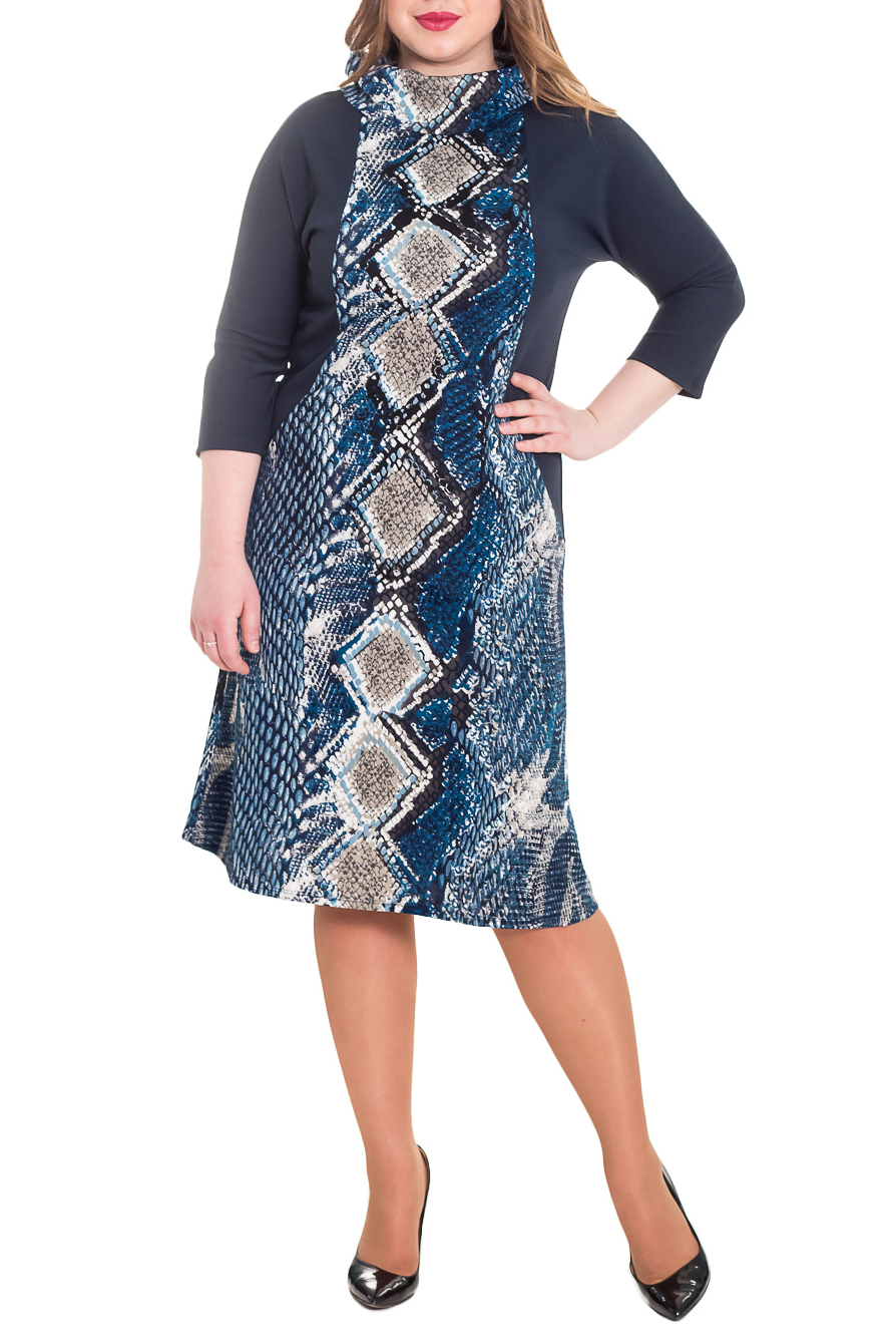 ПлатьеПлатья<br>Это необыкновенно красивое платье украсит ваш гардероб и сделает акцент на Вашем эффектном стиле.  Платье приталенного силуэта, с рельефами на передней и задней частях изделия. На спинке средний шов. Воротник хомут. Рукав цельнокроенный, 3/4.  Цвет: синий, белый и др.  Длина рукава (от конечной плечевой точки) - 43 ± 1 см  Рост девушки-фотомодели 170 см  Длина изделия - 106 ± 2 см<br><br>Воротник: Хомут<br>По длине: Ниже колена<br>По материалу: Трикотаж<br>По рисунку: Рептилия,С принтом,Цветные<br>По силуэту: Полуприталенные,Приталенные<br>По стилю: Повседневный стиль<br>По форме: Платье - трапеция<br>По элементам: С воротником,С декором,С заниженной талией<br>Рукав: Рукав три четверти<br>По сезону: Осень,Весна<br>Размер : 48,50,54,56<br>Материал: Трикотаж<br>Количество в наличии: 16