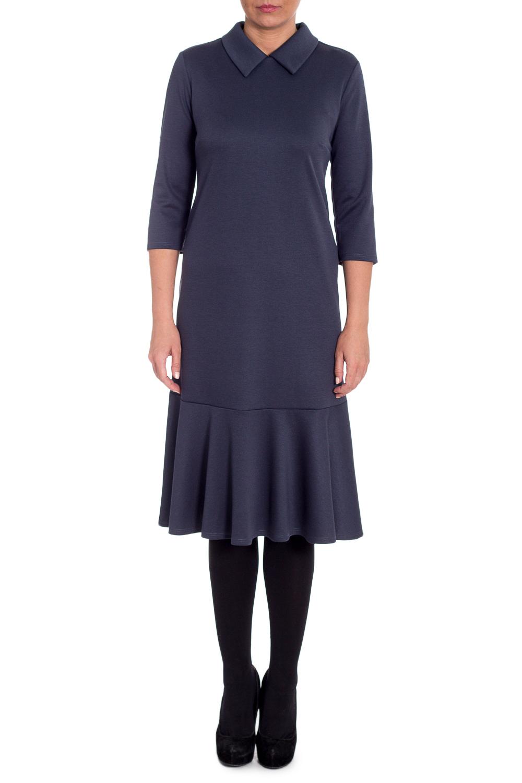 ПлатьеПлатья<br>Это чудесное платье станет главным секретом элегантности и ключиком к безупречному образу. И неважно, соблюдаете ли вы строгий дресс-код или просто обожаете женственный стиль, эта модель станет незаменимым предметом гардероба.  Платье полуприлегающего силуэта с широким воланом по низу. На спинке средний шов с молнией. Воротник отложной. Рукав втачной, 3/4.  Цвет: графит.  Длина рукава (от конечной плечевой точки) - 42 ± 1 см  Рост девушки-фотомодели 170 см  Длина изделия - 107 ± 2 см<br><br>Воротник: Рубашечный<br>По длине: Ниже колена<br>По материалу: Трикотаж<br>По образу: Город,Офис,Свидание<br>По рисунку: Однотонные<br>По силуэту: Полуприталенные<br>По стилю: Классический стиль,Кэжуал,Офисный стиль,Повседневный стиль<br>По элементам: С воланами и рюшами,С воротником,С декором,С молнией,С фигурным низом<br>Рукав: Рукав три четверти<br>По сезону: Осень,Весна<br>Размер : 48,52,54,56<br>Материал: Трикотаж<br>Количество в наличии: 8