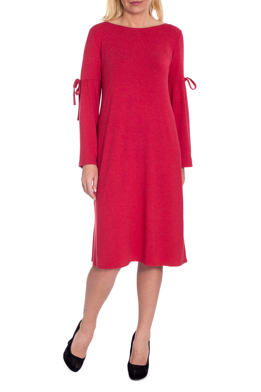 ПлатьеПлатья<br>Оригинальное платье в женственном стиле подарит вам массу положительных эмоций. Дизайн изделия с силуэтом трапеция привнесет в вашу жизнь легкость и комфорт.  Платье силуэта трапеция. На спинке средний шов. Горловина лодочка. Рукав втачной, длинный, с резом на уровне плеча, сборкой и декоративным шнурком.  Цвет: красный.  Длина рукава (от конечной плечевой точки) - 60 ± 1 см  Рост девушки-фотомодели 170 см  Длина изделия - 106 ± 2 см<br><br>Горловина: Лодочка<br>По длине: Ниже колена<br>По материалу: Трикотаж<br>По образу: Город,Свидание<br>По рисунку: Однотонные<br>По сезону: Осень,Зима<br>По стилю: Кэжуал,Повседневный стиль<br>По форме: Платье - трапеция<br>По элементам: С декором,С завязками<br>Рукав: Длинный рукав<br>Размер : 48,50,52,54,56,58<br>Материал: Трикотаж<br>Количество в наличии: 11