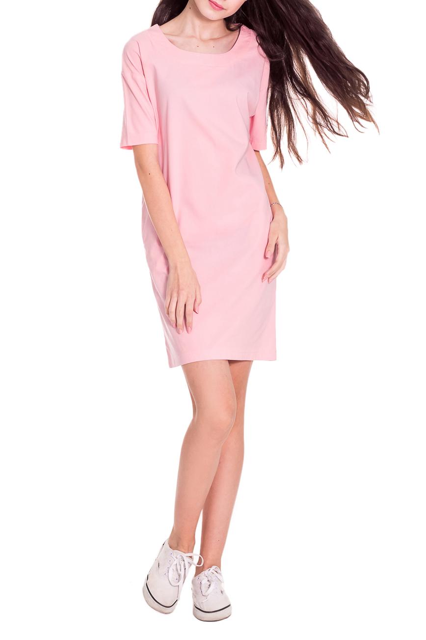 ПлатьеПлатья<br>Платье прямого силуэта отличает свобода движений, поэтому такое платье обязательно должно быть в гардеробе современных модниц. Это отличный вариант для отдыха и на каждый день, ведь такая одежда не будет стеснять движений.  Платье прямого силуэта с карманами в боковых швах. На спинке средний шов. Горловина обработана двойной обтачкой. Рукав рубашечный, со спущенной линией плеча, до локтя. Цвет: розовый.  Длина рукава - 25 ± 1 см  Рост девушки-фотомодели 174 см  Длина изделия - 88 ± 2 см<br><br>Горловина: С- горловина<br>По длине: До колена<br>По материалу: Тканевые,Хлопок<br>По рисунку: Однотонные<br>По сезону: Лето<br>По силуэту: Прямые<br>По стилю: Молодежный стиль,Повседневный стиль,Кэжуал,Летний стиль,Романтический стиль<br>По элементам: С карманами<br>Рукав: До локтя<br>Размер : 50,52<br>Материал: Плательно-блузочная ткань<br>Количество в наличии: 10