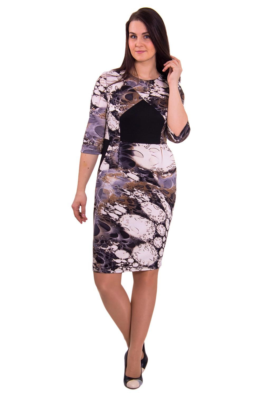 ПлатьеПлатья<br>Платье приталенного силуэта, отрезное по линии талии. На переде лифа вытачки от бокового шва и вставка. На передней части юбки складки, заложенные к центру и карманы с отрезным бочком. Рукав втачной, 3/4.  Длина рукава - 43 см  Рост девушки-фотомодели 180 см  Длина изделия: 48 размер - 103 ± 2 см 50 размер - 103 ± 2 см 52 размер - 103 ± 2 см 54 размер - 105 ± 2 см 56 размер - 105 ± 2 см 58 размер - 105 ± 2 см<br><br>Горловина: С- горловина<br>По длине: Миди<br>По образу: Город,Свидание<br>По рисунку: Абстракция,Цветные,С принтом<br>По сезону: Зима,Осень,Весна<br>По силуэту: Полуприталенные<br>По элементам: С декором<br>Рукав: Рукав три четверти<br>По форме: Платье - футляр<br>По материалу: Трикотаж,Хлопок<br>По стилю: Молодежный стиль,Повседневный стиль<br>Размер : 48,50,52,54,56,58<br>Материал: Джерси<br>Количество в наличии: 1