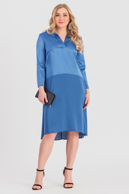 ПлатьеПлатья<br>Не упустите шанс купить это шикарное платье Платье полуприлегающего силуэта с фигурным резом ниже линии талии. На спинке средний шов. Горловина обработана двойными обтачками. Рукав втачной, 7/8.  Цвет: голубовато-синий.  Длина рукава (от конечной плечевой точки) - 52 ± 1 см  Рост девушки-фотомодели 170 см  Длина изделия - 107 ± 2 см<br><br>Горловина: V- горловина<br>По длине: Ниже колена<br>По материалу: Тканевые<br>По рисунку: Однотонные<br>По сезону: Зима,Осень,Весна<br>По силуэту: Полуприталенные<br>По стилю: Нарядный стиль,Повседневный стиль<br>По элементам: С фигурным низом<br>Размер : 48,50,52,54,56,58<br>Материал: Плательная ткань<br>Количество в наличии: 51