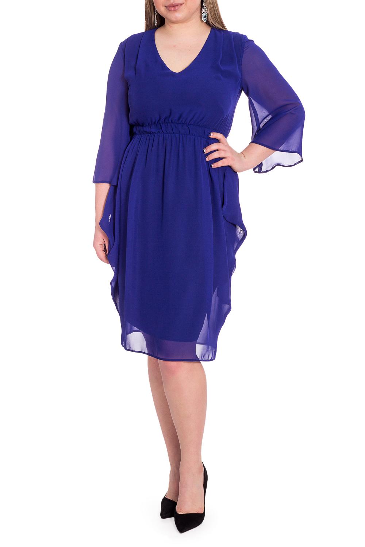 ПлатьеПлатья<br>Повседневно - нарядные платья идеально подходят как для романтичных встреч, так и для походов в кафе с Вашими подругами. Изделие выполнено из струящегося шифона, который прекрасно садится по любой фигуре.  Платье приталенного силуэта, на подкладе, с втачным поясом выше линии талии, с резинкой. По боковым швам юбки драпировка со складками. На передней части лифа складка от плеча. На спинке средний шов. Горловина обработана подкладом. Рукав втачной, 3/4, расширенный к низу.  Цвет: синий.  Длина рукава (от конечной плечевой точки) - 44 ± 1 см  Рост девушки-фотомодели 170 см  Длина изделия: 46 размер - 108 ± 2 см 48 размер - 108 ± 2 см 50 размер - 108 ± 2 см 52 размер - 108 ± 2 см 54 размер - 110 ± 2 см 56 размер - 110 ± 2 см 58 размер - 110 ± 2 см<br><br>Горловина: V- горловина<br>По длине: Ниже колена<br>По материалу: Шифон<br>По рисунку: Однотонные<br>По сезону: Весна,Зима,Лето,Осень,Всесезон<br>По силуэту: Приталенные<br>По стилю: Нарядный стиль<br>По форме: Платье - футляр<br>По элементам: С декором,С подкладом,Со складками<br>Рукав: Рукав три четверти<br>Размер : 48,50,54,56,58<br>Материал: Шифон<br>Количество в наличии: 14