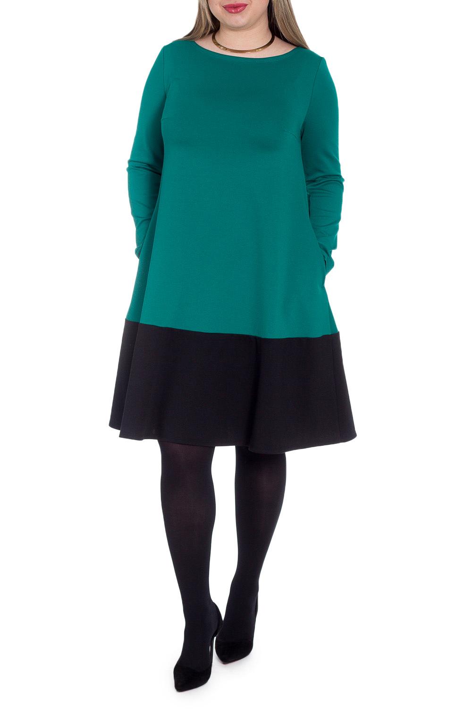 ПлатьеПлатья<br>Элегантное женственное платье силуэта трапеция с широкой планкой понизу. На спинке средний шов. Карманы в боковых швах. Рукав втачной, длинный.  Цвет: изумрудный (верх), черный (низ).  Длина рукава - 61 ± 1 см  Рост девушки-фотомодели 170 см  Длина изделия - 100 ± 2 см<br><br>Горловина: Лодочка<br>По длине: До колена<br>По материалу: Трикотаж<br>По рисунку: Цветные<br>По сезону: Весна,Осень,Зима<br>По силуэту: Свободные<br>По стилю: Классический стиль,Кэжуал,Офисный стиль,Повседневный стиль<br>По форме: Платье - трапеция<br>По элементам: С карманами<br>Рукав: Длинный рукав<br>Размер : 52<br>Материал: Джерси<br>Количество в наличии: 1