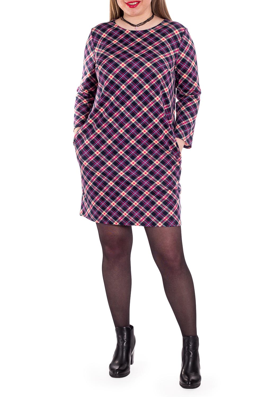 ПлатьеПлатья<br>Платье прямого силуэта с карманами в боковых швах. На спинке средний шов. Горловина круглой формы. Рукав втачной, 7/8.  Модель станет прекрасной составляющей Вашего модного гардероба.  В изделии использованы цвета: розовый и др.  Длина рукава (от конечной плечевой точки) - 50 ± 1 см  Рост девушки-фотомодели 170 см  Длина изделия: 44 размер - 87 ± 2 см 46 размер - 87 ± 2 см 48 размер - 87 ± 2 см 50 размер - 87 ± 2 см 52 размер - 90 ± 2 см 54 размер - 90 ± 2 см 56 размер - 90 ± 2 см<br><br>Горловина: С- горловина<br>По длине: До колена<br>По материалу: Трикотаж<br>По рисунку: В клетку,Цветные<br>По силуэту: Приталенные<br>По стилю: Кэжуал,Повседневный стиль<br>По форме: Платье - футляр<br>По элементам: С карманами<br>Рукав: Длинный рукав<br>По сезону: Осень,Весна<br>Размер : 46,50,54<br>Материал: Трикотаж<br>Количество в наличии: 6