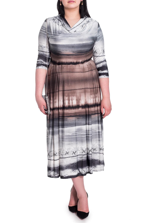 ПлатьеПлатья<br>Изумительное женское платье приталенного силуэта, отрезное по линии талии. На передней части юбки складки. На спинке средний шов. Воротник quot;качельquot;. Рукав втачной, 3/4.  В изделии использованы цвета: коричневый, черный, серый.  Длина рукава - 45 ± 1 см  Рост девушки-фотомодели 170 см  Длина изделия - 116 ± 2 см<br><br>Горловина: Качель<br>По длине: Миди,Ниже колена<br>По материалу: Трикотаж<br>По рисунку: В полоску,С принтом,Цветные<br>По силуэту: Приталенные<br>По стилю: Кэжуал,Повседневный стиль<br>По форме: Платье - трапеция<br>Рукав: Рукав три четверти<br>По сезону: Осень,Весна<br>Размер : 52,56<br>Материал: Трикотаж<br>Количество в наличии: 5