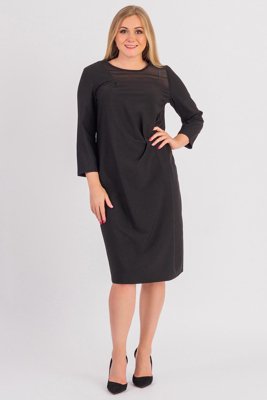 ПлатьеПлатья<br>Успех женщины в карьере во многом зависит от одежды, которую она носит. Поэтому, если вы хотите стать успешной, советуем приобрести это эксклюзивное платье.  Платье прямого силуэта. На передней части изделия асимметричная драпировка, кокетка и подрез со складками. На спинке средний шов. Горловина окантована. Рукав втачной, двушовный, 7/8.  Цвет: черный.  Длина рукава (от конечной плечевой точки) - 50 ± 1 см  Рост девушки-фотомодели 170 см  Длина изделия - 107 ± 2 см<br><br>Горловина: С- горловина<br>По длине: Ниже колена<br>По материалу: Тканевые<br>По рисунку: Однотонные<br>По силуэту: Прямые<br>По стилю: Классический стиль,Кэжуал,Офисный стиль,Повседневный стиль<br>По форме: Платье - футляр<br>По элементам: С декором,С молнией,Со складками<br>Рукав: Рукав три четверти<br>По сезону: Осень,Весна<br>Размер : 48,50,52,54,56,58<br>Материал: Плательная ткань + Шифон<br>Количество в наличии: 41