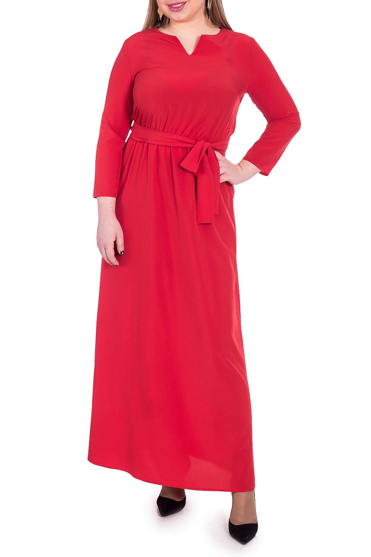 ПлатьеПлатья<br>Роскошное платье сделает Вас центром внимания благодаря женственной расцветке и прилегающему силуэту.  Платье приталенного силуэта, отрезное по линии талии с резинкой. Съемный пояс. На спинке средний шов. Горловина обработана обтачкой. Рукав втачной, 7/8.  Цвет: красный.  Длина рукава (от конечной плечевой точки) - 50 ± 1 см  Рост девушки-фотомодели 170 см  Длина изделия - 146 ± 2 см<br><br>Горловина: Фигурная горловина<br>По длине: Макси<br>По материалу: Тканевые<br>По образу: Выход в свет,Свидание<br>По рисунку: Однотонные<br>По сезону: Весна,Зима,Осень,Всесезон<br>По силуэту: Приталенные<br>По стилю: Нарядный стиль<br>По форме: Платье - трапеция<br>По элементам: С поясом<br>Размер : 50,52,54,56,58<br>Материал: Плательная ткань<br>Количество в наличии: 12
