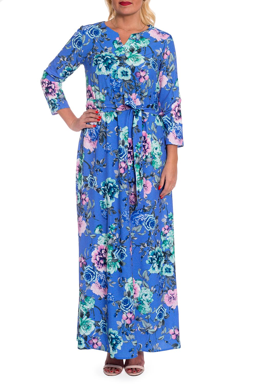 ПлатьеПлатья<br>Роскошное платье сделает Вас центром внимания благодаря женственной расцветке и прилегающему силуэту.  Платье приталенного силуэта, отрезное по линии талии с резинкой. Съемный пояс. На спинке средний шов. Горловина обработана обтачкой. Рукав втачной, 7/8.  В изделии использованы цвета: сине-голубой, бирюзовый, розовый и др.  Длина рукава (от конечной плечевой точки) - 50 ± 1 см  Рост девушки-фотомодели 168 см  Длина изделия - 146 ± 2 см<br><br>Горловина: Фигурная горловина<br>По длине: Макси<br>По материалу: Тканевые<br>По рисунку: Растительные мотивы,С принтом,Цветные,Цветочные<br>По сезону: Весна,Зима,Лето,Осень,Всесезон<br>По силуэту: Полуприталенные,Свободные<br>По стилю: Летний стиль,Нарядный стиль,Повседневный стиль,Романтический стиль<br>По элементам: С поясом<br>Размер : 48,50<br>Материал: Плательно-блузочная ткань<br>Количество в наличии: 8