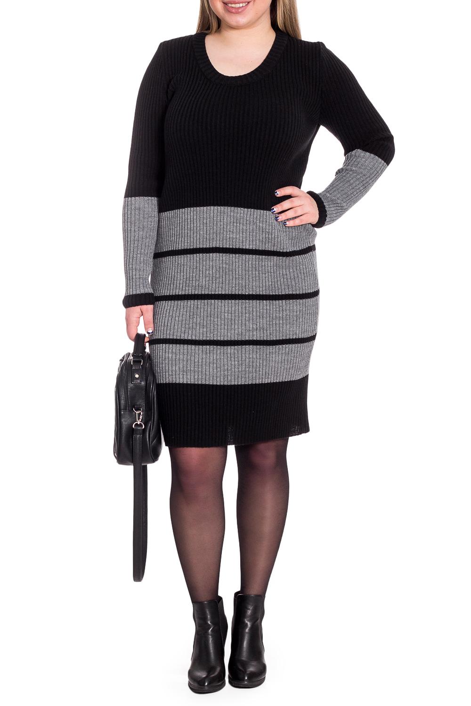 ПлатьеПлатья<br>Вязаные изделия - это красота, тепло и комфорт. В вязаных вещах очень легко оставаться женственной и в то же время не замёрзнуть.  Платье - резинка. Горловина обработана бейкой. Рукав втачной, длинный.  В изделии использованы цвета: серый, черный.  Длина рукава (от конечной плечевой точки) - 64 ± 1 см  Рост девушки-фотомодели 170 см  Длина изделия - 101 ± 2 см<br><br>Горловина: С- горловина<br>По длине: До колена<br>По материалу: Вязаные<br>По образу: Город,Офис<br>По рисунку: В полоску,Цветные<br>По сезону: Осень,Зима<br>По силуэту: Полуприталенные<br>По стилю: Кэжуал,Офисный стиль,Повседневный стиль<br>По форме: Платье - футляр<br>Рукав: Длинный рукав<br>Размер : 42,44,46,48,50,52,54,56,58<br>Материал: Пряжа<br>Количество в наличии: 45