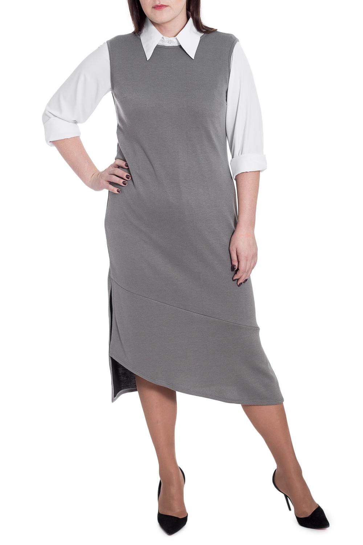 ПлатьеСарафаны<br>Удлиненное платье - сарафан - это уникальная вещь, которая должна оказаться в вашем гардеробе Стильная и эксклюзивная, такая модель способна подарить чувство комфорта и ощущение полной уверенности в себе.  Платье-сарафан с широкой планкой по низу и асимметричным низом. Разрезы по боковым швам. На спинке средний шов. Горловина и проймы окантованы.  Цвет: серый.  Рост девушки-фотомодели 172 см  Длина изделия - 122 ± 2 см<br><br>Бретели: Широкие бретели<br>Горловина: С- горловина<br>По длине: Макси,Миди<br>По материалу: Трикотаж<br>По рисунку: Однотонные<br>По сезону: Весна,Зима,Лето,Осень,Всесезон<br>По силуэту: Прямые<br>По стилю: Кэжуал,Офисный стиль,Повседневный стиль<br>По элементам: С фигурным низом<br>Рукав: Без рукавов<br>Размер : 48,50,56<br>Материал: Трикотаж<br>Количество в наличии: 14