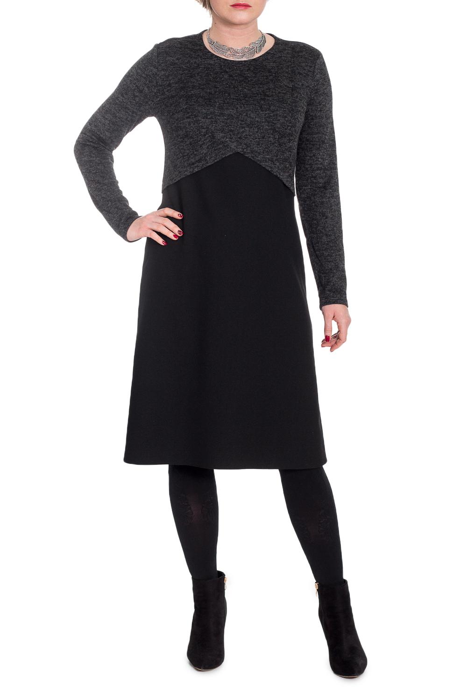 ПлатьеПлатья<br>Гармоничное платье от наших дизайнеров - универсальный предмет в вашем гардеробе Изготовленная по эксклюзивному крою, модель способна внести мягкость и расслабленность в повседневный стиль. А благодаря эластичной трикотажной ткани уютно укрыть от прохладной погоды.  Платье силуэта quot;трапецияquot; с эффектом многослойности, с фигурным резом выше линии талии. На спинке средний шов. Горловина круглая. Рукав втачной, длинный.  Цвет: черный.  Длина рукава - 61 ± 1 см  Рост девушки-фотомодели 170 см  Длина изделия: 46 размер - 103 ± 2 см 48 размер - 103 ± 2 см 50 размер - 103 ± 2 см 52 размер - 103 ± 2 см 54 размер - 106 ± 2 см 56 размер - 106 ± 2 см 58 размер - 106 ± 2 см<br><br>Горловина: С- горловина<br>По длине: Ниже колена<br>По материалу: Трикотаж<br>По рисунку: Однотонные<br>По сезону: Осень,Зима<br>По силуэту: Свободные<br>По стилю: Классический стиль,Кэжуал,Офисный стиль,Повседневный стиль<br>По форме: Платье - трапеция<br>По элементам: С декором,С завышенной талией<br>Рукав: Длинный рукав<br>Размер : 56<br>Материал: Трикотаж + Плательная ткань<br>Количество в наличии: 1