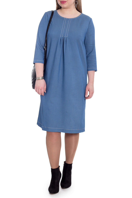ПлатьеПлатья<br>Прямое демисезонное платье позволит заниматься всем, чем Вы пожелаете. Модель станет идеальным дополнением к Вашему повседневному гардеробу.  Платье прямого силуэта. На передней части изделия отстроченные защипы. На спинке средний шов. Горловина обработана обтачкой. Рукав втачной, 3/4.  Цвет: джинсовый синий.  Длина рукава - 45 ± 1 см  Рост девушки-фотомодели 170 см  Длина изделия: 46 размер - 101 ± 2 см 48 размер - 101 ± 2 см 50 размер - 101 ± 2 см 52 размер - 101 ± 2 см 54 размер - 103 ± 2 см 56 размер - 103 ± 2 см 58 размер - 103 ± 2 см<br><br>Горловина: С- горловина<br>По длине: Ниже колена<br>По материалу: Джинс<br>По рисунку: Однотонные<br>По силуэту: Прямые<br>По стилю: Кэжуал,Повседневный стиль<br>По элементам: Отделка строчкой,С декором,Со складками<br>Рукав: Рукав три четверти<br>По сезону: Осень,Весна<br>Размер : 48,50,52,54,56<br>Материал: Джинс<br>Количество в наличии: 21