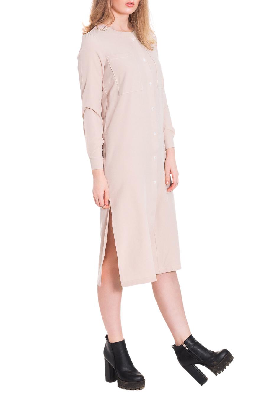 ПлатьеПлатья<br>Стильное, молодежное платье, которое разнообразит Ваш повседневный гардероб.  Платье прямого силуэта с разрезами по боковым швам. На передней части изделия накладные карманы и центральная застежка на пуговицы с планкой. Горловина обработана двойной обтачкой. Рукав втачной, длинный с притачной манжетой и застежкой на пуговицы.  Цвет: бежево-розовый.  Длина рукава - 61 ± 1 см  Рост девушки-фотомодели 179 см  Длина изделия - 112 ± 2 см<br><br>По образу: Город,Офис,Свидание<br>По стилю: Офисный стиль,Повседневный стиль,Ультрамодный стиль,Кэжуал,Молодежный стиль<br>По материалу: Трикотаж,Хлопок<br>По рисунку: Однотонные<br>По сезону: Осень,Весна<br>По силуэту: Прямые<br>По элементам: С манжетами,С пуговицами,С разрезом,С декором,С фигурным низом,С карманами<br>По длине: Миди,Ниже колена<br>Рукав: Длинный рукав<br>Горловина: С- горловина<br>Разрез: Короткий<br>Размер: 50,52,42,44,46,48<br>Материал: 50% хлопок 45% полиэстер 5% эластан<br>Количество в наличии: 17