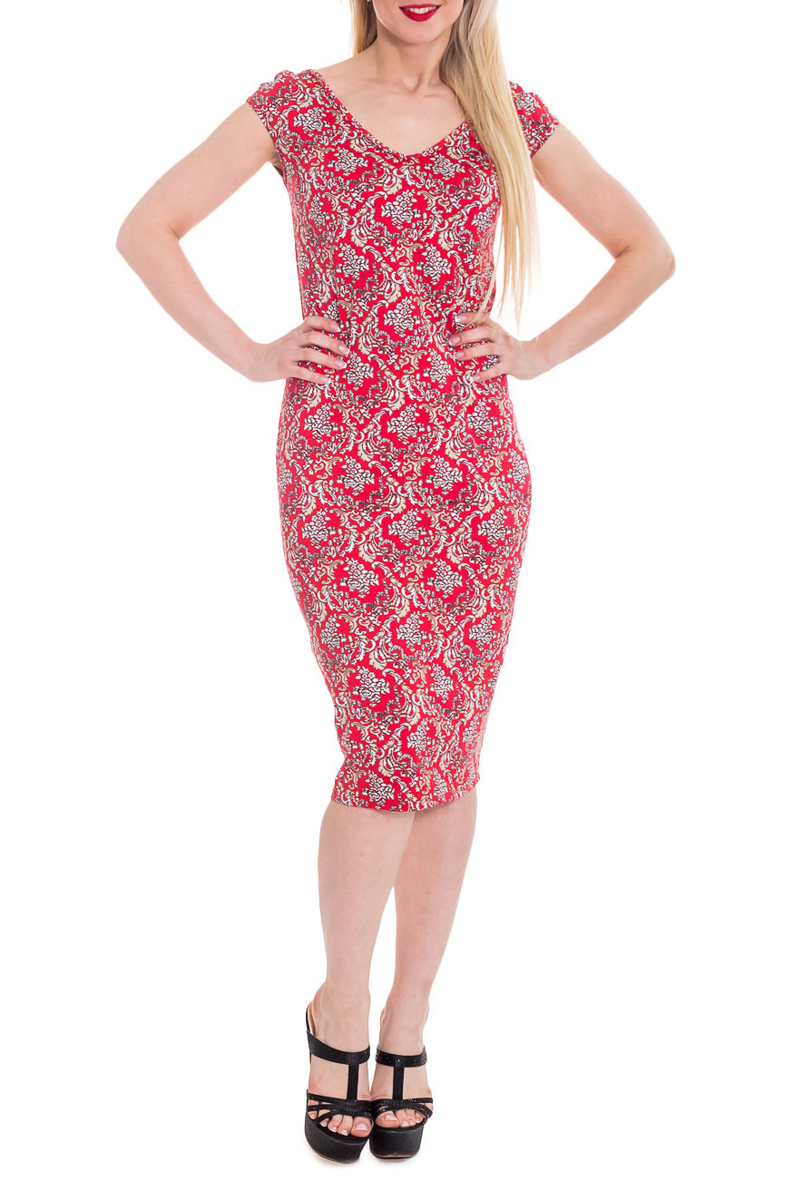 ПлатьеПлатья<br>Очаровательное женское платье прилегающего силуэта со спущенным рукавом, зауженное к низу. Горловина V-образная как на переде, так и на спинке, обработана окантовкой.  Цвет: на красном фоне оригинальный принт.  Рост девушки-фотомодели 170 см  Длина изделия - 105 см ± 2 см<br><br>Горловина: V- горловина<br>По длине: Ниже колена<br>По материалу: Вискоза,Трикотаж<br>По рисунку: Абстракция,С принтом,Цветные<br>По силуэту: Приталенные<br>По стилю: Летний стиль,Повседневный стиль<br>По форме: Платье - футляр<br>Рукав: Короткий рукав<br>По сезону: Лето<br>Размер : 46,48<br>Материал: Трикотаж<br>Количество в наличии: 6