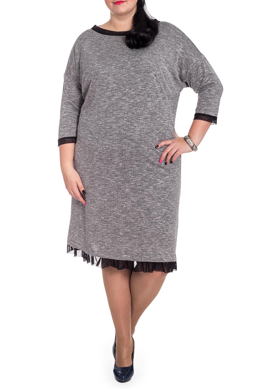 ПлатьеПлатья<br>Кто сказал, что удобные вещи не могут быть стильными Универсальное платье из нашей коллекции - женственный вариант в стиле casual.  Платье силуэта трапеция с оборкой по низу. На спинке средний шов. Горловина обработана бейкой. Рукав рубашечный, 3/4, со спущенной линией плеча и притачной манжетой.  Цвет: серый.  Длина рукава (от конечной плечевой точки) - 44 ± 1 см  Рост девушки-фотомодели 176 см  Длина изделия: 46 размер - 106 ± 2 см 48 размер - 106 ± 2 см 50 размер - 106 ± 2 см 52 размер - 106 ± 2 см 54 размер - 109 ± 2 см 56 размер - 109 ± 2 см 58 размер - 109 ± 2 см<br><br>Горловина: Лодочка<br>По длине: Ниже колена<br>По материалу: Трикотаж<br>По рисунку: Однотонные<br>По силуэту: Свободные<br>По стилю: Классический стиль,Кэжуал,Офисный стиль,Повседневный стиль<br>По форме: Платье - трапеция<br>По элементам: С воланами и рюшами,С декором,С манжетами,С фигурным низом<br>Рукав: Рукав три четверти<br>По сезону: Осень,Весна<br>Размер : 58,66<br>Материал: Трикотаж + Гипюровая сетка<br>Количество в наличии: 5