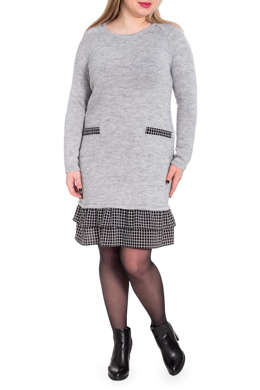 ПлатьеПлатья<br>Вязаные изделия - это красота, тепло и комфорт. В вязаных вещах очень легко оставаться женственной и в то же время не замёрзнуть.  Платье силуэта трапеция с двойной оборкой по низу и декоративными листочками на передней части изделия. Горловина обработана бейкой. Рукав реглан, длинный.  В изделии использованы цвета: серый, черный, белый.  Длина рукава (от конечной плечевой точки) - 60 ± 1 см  Рост девушки-фотомодели 170 см  Длина изделия - 91 ± 2 см<br><br>Горловина: С- горловина<br>По длине: До колена<br>По материалу: Вязаные<br>По образу: Город,Офис,Свидание<br>По рисунку: Однотонные<br>По сезону: Осень,Зима<br>По силуэту: Полуприталенные<br>По стилю: Кэжуал,Офисный стиль,Повседневный стиль<br>По форме: Платье - трапеция<br>По элементам: С воланами и рюшами,С декором,С фигурным низом<br>Рукав: Длинный рукав<br>Размер : 54<br>Материал: Пряжа + Плательная ткань<br>Количество в наличии: 1