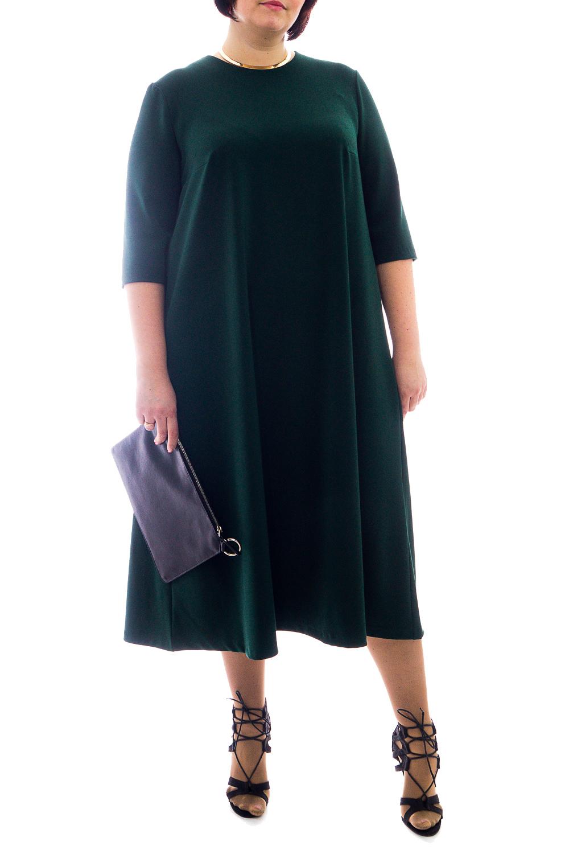 ПлатьеПлатья<br>Классика и элегантность - это залог успеха для создания Вашего повседневного образа. Дополните это стильное платье модными аксессуарами и завершите образ успешной женщины   Платье силуэта quot;трапецияquot;. На спинке средний шов. Горловина обработана обтачкой с капелькой на спинке и застежкой на пуговицу. Рукав втачной, до локтя.  Цвет: темно-зеленый.  Длина рукава - 40 ± 1 см  Рост девушки-фотомодели 176 см  Длина изделия - 117 ± 2 см  При создании образа, который Вы видите на фотографии, также была использована стильная сумка арт. SMK12016. Для просмотра модели введите артикул в строке поиска.<br><br>Горловина: С- горловина<br>По длине: Миди,Ниже колена<br>По материалу: Костюмные ткани,Тканевые<br>По рисунку: Однотонные<br>По силуэту: Свободные<br>По стилю: Классический стиль,Кэжуал,Офисный стиль,Повседневный стиль<br>По форме: Платье - трапеция<br>Рукав: До локтя<br>По сезону: Осень,Весна<br>Размер : 56,60<br>Материал: Костюмно-плательная ткань<br>Количество в наличии: 3