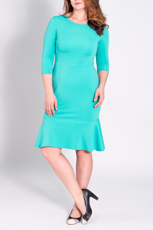 ПлатьеПлатья<br>Милое, женственное платье приталенного силуэта. В этом платье Вы, несомненно, очаруете своего любимого мужчину  Изделие отрезное по линии талии. По низу юбки вставки - воланы. На спинке средний шов. Горловина круглая. Рукав втачной, 3/4. Цвет: бирюзовый.  Длина рукава - 41 ± 1 см   Рост девушки-фотомодели 180 см  Длина изделия - 101 ± 2 см<br><br>Горловина: С- горловина<br>По длине: Ниже колена<br>По материалу: Трикотаж<br>По рисунку: Однотонные<br>По сезону: Весна,Осень<br>По силуэту: Приталенные<br>По стилю: Классический стиль,Офисный стиль,Повседневный стиль,Романтический стиль<br>По форме: Платье - футляр,Платье - годе<br>По элементам: С воланами и рюшами,С декором<br>Рукав: Рукав три четверти<br>Размер : 48,50,52,54<br>Материал: Трикотаж<br>Количество в наличии: 5