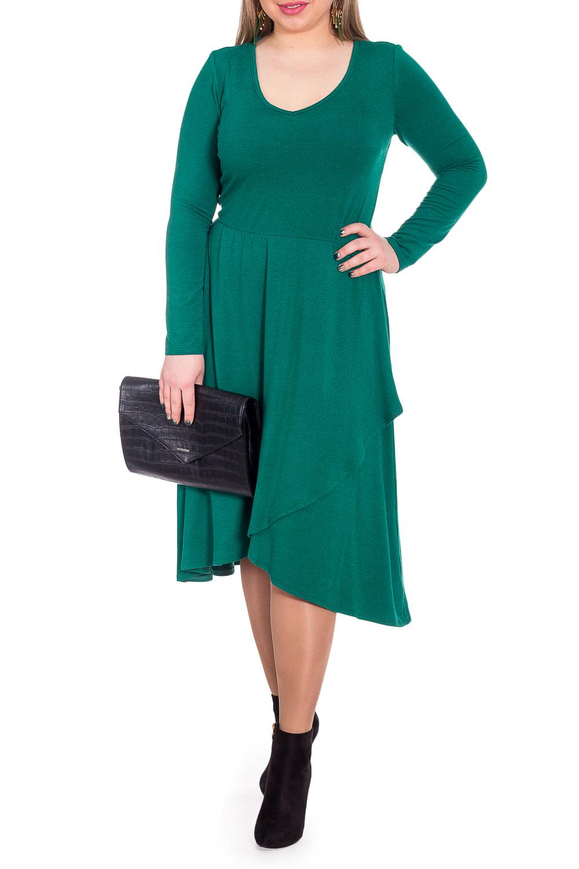 ПлатьеПлатья<br>Эксклюзивное платье из струящегося трикотажа. Эта модель выглядит очень женственно и неординарно.  Платье приталенного силуэта, отрезное по линии талии с резинкой. На передней части изделия юбка на quot;запахquot;. На спинке средний шов. Горловина окантована. Рукав втачной, длинный.  Цвет: темный изумруд.  Длина рукава (от конечной плечевой точки) - 58 ± 1 см  Рост девушки-фотомодели 170 см  Длина изделия - 114 ± 2 см<br><br>По длине: Ниже колена<br>По материалу: Трикотаж<br>По рисунку: Однотонные<br>По сезону: Зима,Осень,Весна<br>По силуэту: Приталенные<br>По стилю: Повседневный стиль<br>По форме: Платье - трапеция<br>По элементам: С фигурным низом<br>Рукав: Длинный рукав<br>Размер : 48,50,52,54,58<br>Материал: Трикотаж<br>Количество в наличии: 24