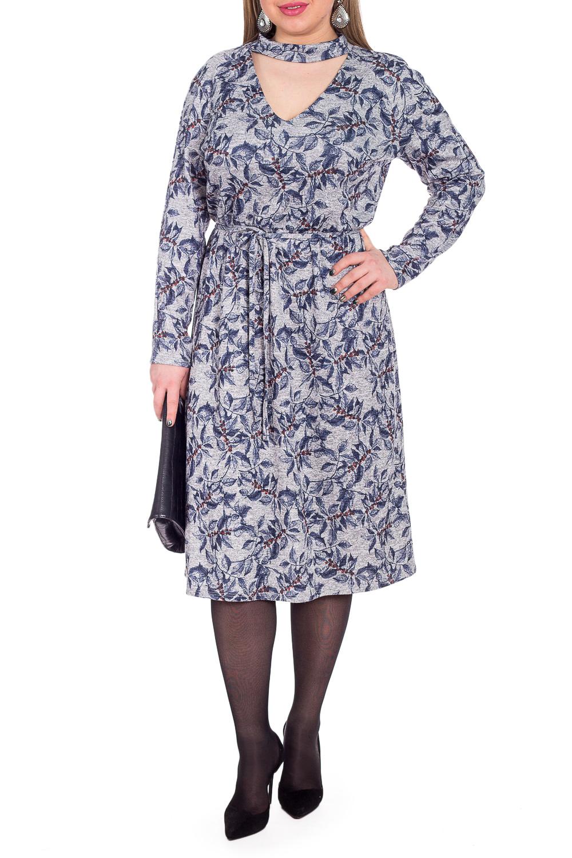 ПлатьеПлатья<br>Это очаровательное платье придаст гардеробу новое дыхание Благодаря лаконичному фасону, эта модель позволит создавать стильные образы.  Платье полуприлегающего силуэта, отрезное по линии талии с резинкой. На спинке средний шов. Горловина V-образная, обработана обтачкой с воротником quot;стойкойquot;. Рукав реглан, длинный.  В изделии использованы цвета: серый, синий и др.  Длина рукава (от конечной плечевой точки) - 59 ± 1 см  Рост девушки-фотомодели 170 см  Длина изделия: 46 размер - 108 ± 2 см 48 размер - 108 ± 2 см 50 размер - 108 ± 2 см 52 размер - 108 ± 2 см 54 размер - 111 ± 2 см 56 размер - 111 ± 2 см 58 размер - 111 ± 2 см<br><br>Воротник: Стойка<br>Горловина: V- горловина,Фигурная горловина<br>По длине: Ниже колена<br>По материалу: Трикотаж<br>По рисунку: Растительные мотивы,С принтом,Цветные,Цветочные<br>По сезону: Зима,Осень,Весна<br>По силуэту: Полуприталенные<br>По стилю: Повседневный стиль<br>По форме: Платье - трапеция<br>По элементам: С воротником,С декором<br>Рукав: Длинный рукав<br>Размер : 48,50<br>Материал: Трикотаж<br>Количество в наличии: 4