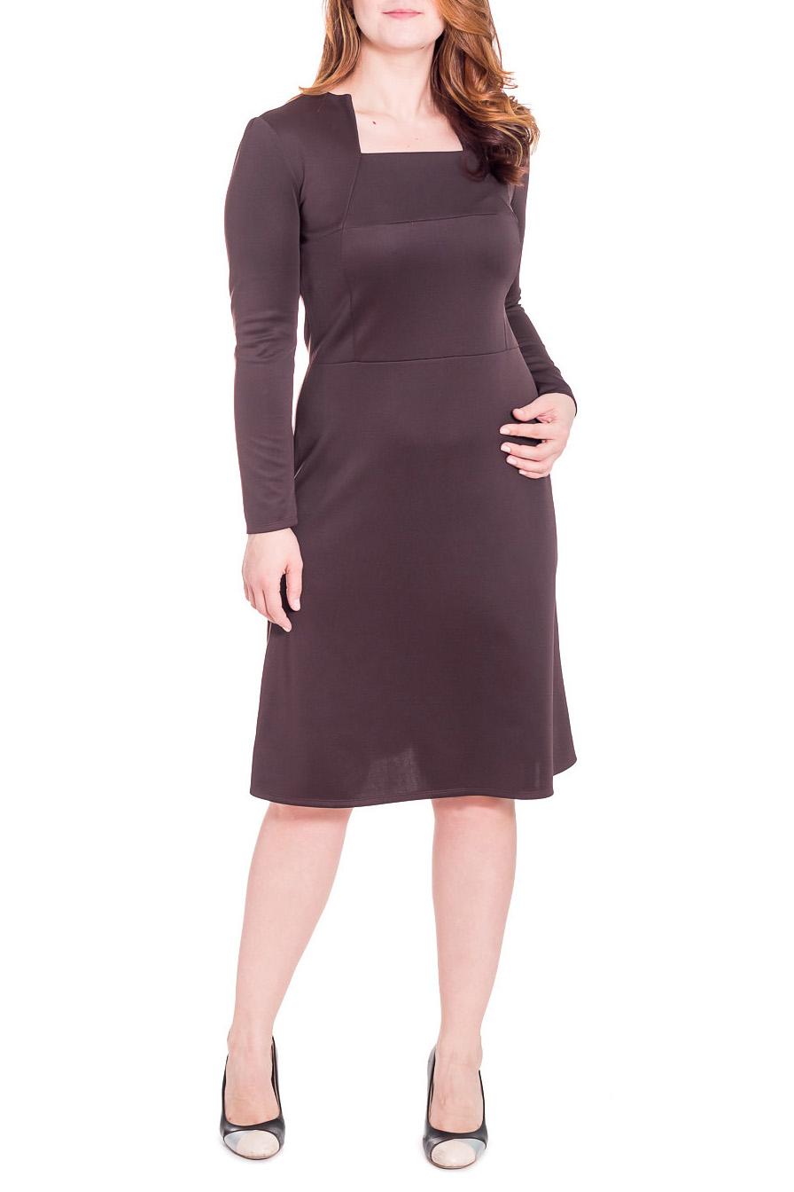 ПлатьеПлатья<br>Классическое женское платье приталенного силуэта, отрезное по линии талии. На передней части лифа рез по груди и рельефы. На спинке средний шов. Горловина обработана обтачкой. Рукав втачной, длинный. Цвет: шоколад.  Длина рукава - 61 ± 1 см  Рост девушки-фотомодели 180 см  Длина изделия - 108 ± 2 см<br><br>Горловина: Квадратная горловина<br>По длине: Ниже колена<br>По материалу: Трикотаж<br>По рисунку: Однотонные<br>По сезону: Зима<br>По силуэту: Приталенные<br>По стилю: Классический стиль,Офисный стиль,Повседневный стиль<br>По форме: Платье - трапеция<br>Рукав: Длинный рукав<br>Размер : 48<br>Материал: Трикотаж<br>Количество в наличии: 1