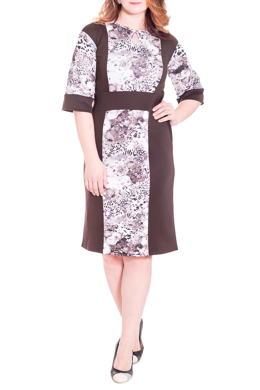 ПлатьеПлатья<br>Замечательное женское платье полуприлегающего силуэта с втачным поясом по талии. На передней части изделия рельефы. На спинке средний шов. Горловина окантована с капелькой. Рукав рубашечный, 3/4, с притачной планкой по низу. Цвет: коричневый, бежевый, белый.  Длина рукава (от конечной плечевой точки) - 41 ± 1 см  Рост девушки-фотомодели 180 см  Длина изделия - 109 ± 2 см<br><br>Горловина: С- горловина<br>По длине: Ниже колена<br>По материалу: Трикотаж<br>По рисунку: Растительные мотивы,С принтом,Цветные,Цветочные<br>По сезону: Весна,Осень<br>По силуэту: Полуприталенные<br>По стилю: Повседневный стиль<br>По форме: Платье - футляр<br>По элементам: С декором,С манжетами<br>Рукав: Рукав три четверти<br>Размер : 48,50,52<br>Материал: Трикотаж<br>Количество в наличии: 21