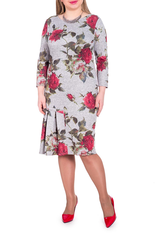 ПлатьеПлатья<br>Женственность и элегантность - это залог успеха для создания Вашего повседневного образа. Дополните это стильное платье модными аксессуарами и завершите образ успешной женщины  Платье полуприлегающего силуэта с асимметричной деталью в складку на передней части изделия. На спинке средний шов. Горловина лодочка. Рукав втачной, 7/8.  Цвет: на сером фоне красные розы.  Длина рукава (от конечной плечевой точки) - 49 ± 1 см  Рост девушки-фотомодели 170 см  Длина изделия: 46 размер - 105 ± 2 см 48 размер - 105 ± 2 см 50 размер - 105 ± 2 см 52 размер - 105 ± 2 см 54 размер - 108 ± 2 см 56 размер - 108 ± 2 см 58 размер - 108 ± 2 см<br><br>Горловина: Лодочка<br>По длине: Ниже колена<br>По материалу: Трикотаж<br>По рисунку: Растительные мотивы,С принтом,Цветные,Цветочные<br>По силуэту: Приталенные<br>По стилю: Повседневный стиль,Романтический стиль<br>По форме: Платье - футляр<br>По элементам: Со складками<br>По сезону: Осень,Весна<br>Размер : 48<br>Материал: Трикотаж<br>Количество в наличии: 5