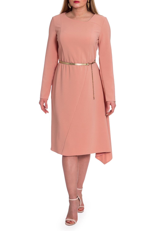 ПлатьеПлатья<br>Классика и элегантность - это залог успеха для создания Вашего повседневного образа. Дополните это стильное платье модными аксессуарами и завершите образ успешной женщины  Платье полуприлегающего силуэта, отрезное по линии талии с резинкой. Асимметричная юбка с резом на передней части. На лифе переда рельефы и асимметричная кокетка. На спинке средний шов. Горловина обработана обтачкой. Рукав втачной, длинный. Пояс в комплект не входит.  Цвет: персиковый.  Длина рукава - 60 ± 1 см  Рост девушки-фотомодели 170 см  Длина изделия: 46 размер - 103 ± 2 см 48 размер - 103 ± 2 см 50 размер - 103 ± 2 см 52 размер - 103 ± 2 см 54 размер - 105 ± 2 см 56 размер - 105 ± 2 см 58 размер - 105 ± 2 см<br><br>Горловина: Фигурная горловина<br>По длине: Ниже колена<br>По материалу: Тканевые<br>По рисунку: Однотонные<br>По силуэту: Полуприталенные<br>По стилю: Классический стиль,Кэжуал,Офисный стиль,Повседневный стиль,Романтический стиль<br>По форме: Платье - трапеция<br>По элементам: С фигурным низом<br>Рукав: Длинный рукав<br>По сезону: Осень,Весна<br>Размер : 48,50,52,54,56,58<br>Материал: Плательная ткань<br>Количество в наличии: 21