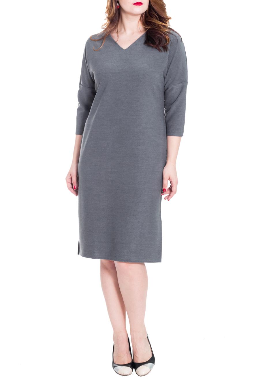 ПлатьеПлатья<br>Классическое женское платье полуприлегающего силуэта с разрезами по боковым швам. На спинке средний шов и молния. Горловина обработана обтачкой. Рукав рубашечный, со спущенной линией плеча, 3/4. Цвет: серый.  Длина рукава (от конечной плечевой точки) - 45 ± 1 см  Рост девушки-фотомодели 180 см  Длина изделия - 108 ± 2 см<br><br>Горловина: V- горловина<br>По длине: Ниже колена<br>По материалу: Вискоза,Костюмные ткани,Тканевые<br>По образу: Город,Офис<br>По рисунку: Однотонные<br>По сезону: Весна,Осень<br>По силуэту: Полуприталенные<br>По стилю: Классический стиль,Офисный стиль,Повседневный стиль<br>По форме: Платье - футляр<br>По элементам: С молнией,С разрезом<br>Разрез: Короткий<br>Рукав: Рукав три четверти<br>Размер : 48,50<br>Материал: Костюмно-плательная ткань<br>Количество в наличии: 12