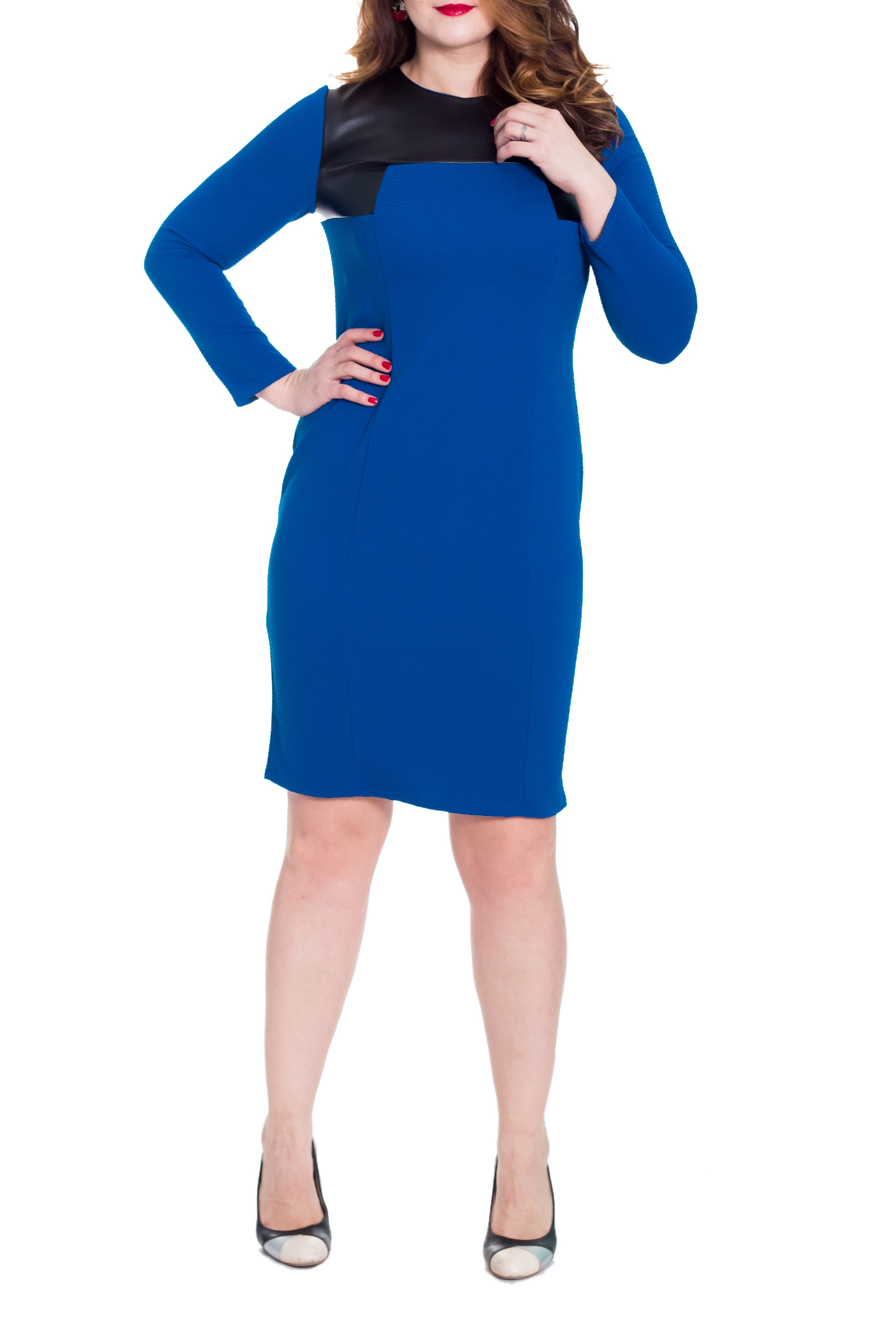 ПлатьеПлатья<br>Изумительное женское платье приталенного силуэта с кокетками из кожи на передней и задней частях изделия. На переде рельефы. На спинке средний шов с молнией и шлицей. Горловина обработана обтачкой. Рукав втачной, длинный. Цвет: синий, черный.  Длина рукава - 60 ± 1 см  Рост девушки-фотомодели 180 см  Длина изделия: 46 размер - 106 ± 2 см 48 размер - 106 ± 2 см 50 размер - 106 ± 2 см 52 размер - 106 ± 2 см 54 размер - 110 ± 2 см 56 размер - 110 ± 2 см 58 размер - 110 ± 2 см<br><br>Горловина: С- горловина<br>По материалу: Трикотаж<br>По сезону: Зима<br>По силуэту: Приталенные<br>По стилю: Классический стиль,Офисный стиль,Повседневный стиль<br>По форме: Платье - футляр<br>По элементам: С декором,С кожаными вставками,С молнией,С разрезом<br>Разрез: Шлица<br>Рукав: Длинный рукав<br>По длине: До колена<br>По рисунку: Цветные<br>Размер : 48,50,54<br>Материал: Трикотаж + Искусственная кожа<br>Количество в наличии: 10