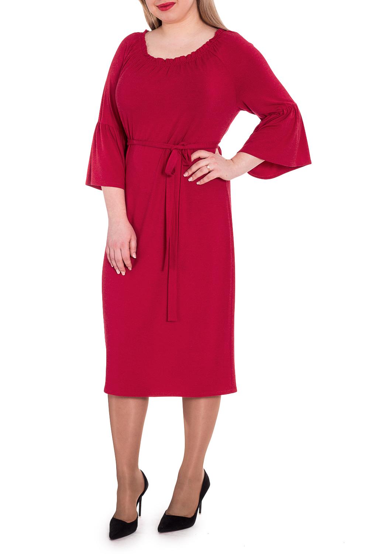 ПлатьеПлатья<br>Это изумительное женское платье подчеркнет все изгибы силуэта и поможет выразить свою индивидуальность.  Платье прямого силуэта со съемным поясом. На спинке средний шов. Горловина лодочка со сборкой на резинку. Рукав реглан, 3/4, с воланом по низу.  Цвет: красный.  Длина рукава (от конечной плечевой точки) - 42 ± 1 см  Рост девушки-фотомодели 170 см  Длина изделия - 104 ± 2 см<br><br>Горловина: Лодочка,С- горловина<br>По длине: Ниже колена<br>По материалу: Вискоза,Трикотаж<br>По рисунку: Однотонные<br>По силуэту: Прямые<br>По стилю: Нарядный стиль,Повседневный стиль<br>По элементам: С манжетами,С поясом,Со складками<br>Рукав: Рукав три четверти<br>По сезону: Осень,Весна<br>Размер : 48,50,52,54,56,58<br>Материал: Трикотаж<br>Количество в наличии: 46