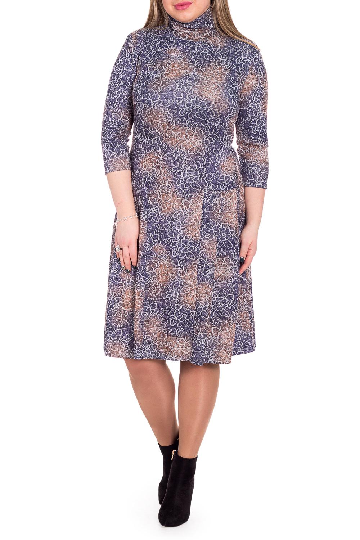ПлатьеПлатья<br>Утонченное женское платье - это всегда актуальная и удобная модель, которая добавит элегантный акцент любому образу.  Платье полуприлегающего силуэта, отрезное по линии бедер. На юбке складки. На спинке средний шов. Воротник стойка с загибом. Рукав втачной, 3/4.  В изделии использованы цвета: темно-сиреневый, бежевый.  Длина рукава - 44 ± 1 см  Рост девушки-фотомодели 170 см  Длина изделия: 46 размер - 104 ± 2 см 48 размер - 104 ± 2 см 50 размер - 104 ± 2 см 52 размер - 104 ± 2 см 54 размер - 109 ± 2 см 56 размер - 109 ± 2 см 58 размер - 109 ± 2 см<br><br>Воротник: Стойка<br>По длине: Ниже колена<br>По материалу: Трикотаж<br>По образу: Город,Свидание<br>По рисунку: Растительные мотивы,С принтом,Цветные,Цветочные<br>По силуэту: Полуприталенные<br>По стилю: Кэжуал,Повседневный стиль<br>По форме: Платье - трапеция<br>По элементам: С заниженной талией,Со складками<br>Рукав: Рукав три четверти<br>По сезону: Осень,Весна<br>Размер : 48,50,52,54,56,58<br>Материал: Трикотаж<br>Количество в наличии: 32