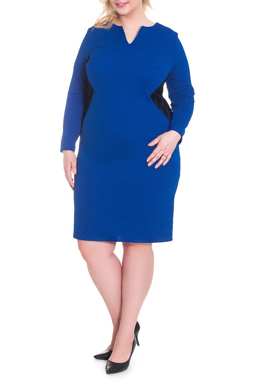 ПлатьеПлатья<br>Элегантное женское платье полуприлегающего силуэта с двойными вставками гипюра по бокам. На спинке средний шов, вытачки и шлица. Горловина обработана обтачкой. Рукав втачной, длинный.  Цвет: синий.  Длина рукава - 60 ± 1 см  Рост девушки-фотомодели 180 см  Длина изделия: 56 размер - 108 ± 2 см 58 размер - 108 ± 2 см 60 размер - 108 ± 2 см 62 размер - 108 ± 2 см 64 размер - 111 ± 2 см 66 размер - 111 ± 2 см 68 размер - 111 ± 2 см<br><br>Горловина: V- горловина,Фигурная горловина<br>По длине: Ниже колена<br>По материалу: Гипюр,Трикотаж<br>По рисунку: Однотонные<br>По сезону: Зима,Осень,Весна<br>По силуэту: Полуприталенные<br>По стилю: Классический стиль,Повседневный стиль<br>По форме: Платье - футляр<br>По элементам: С декором,С разрезом<br>Разрез: Шлица<br>Рукав: Длинный рукав<br>Размер : 62,64<br>Материал: Трикотаж + Гипюр<br>Количество в наличии: 8
