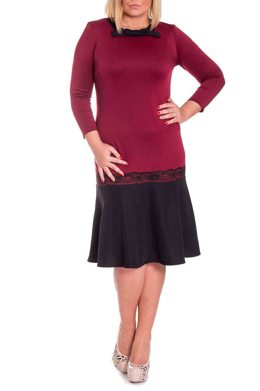 ПлатьеПлатья<br>Шикарное женское платье полуприлегающего силуэта с широким воланом по низу и кружевом. На спинке средний шов. Горловина обработана двойной обтачкой с декоративным бантом. Рукав втачной, 7/8. Цвет: бордо, черный.  Длина рукава - 52 ± 1 см  Рост девушки-фотомодели 170 см  Длина изделия - 106 ± 2 см<br><br>Горловина: С- горловина<br>По длине: Ниже колена<br>По материалу: Трикотаж<br>По образу: Свидание<br>По рисунку: Цветные<br>По сезону: Зима<br>По силуэту: Приталенные<br>По стилю: Нарядный стиль<br>По элементам: С декором,С фигурным низом,Со складками<br>Рукав: Длинный рукав,Рукав три четверти<br>Размер : 48<br>Материал: Трикотаж<br>Количество в наличии: 2