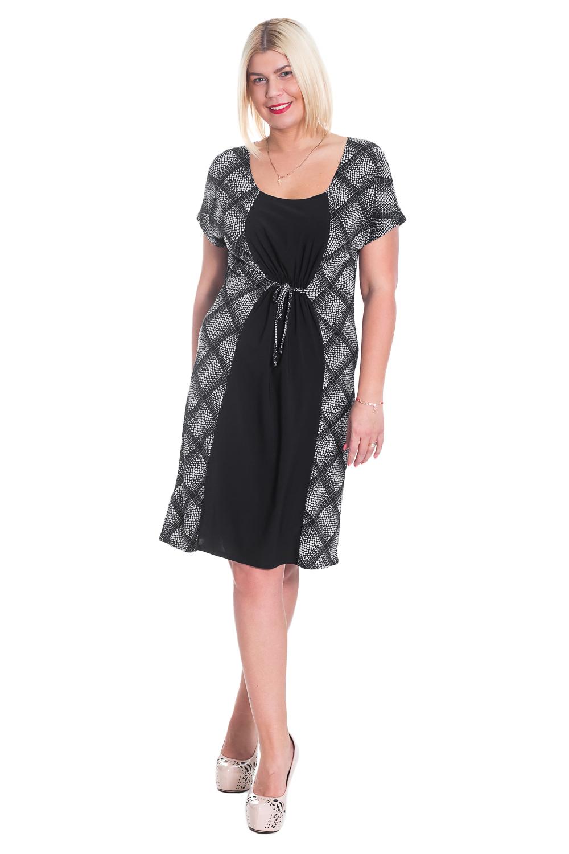 ПлатьеПлатья<br>Замечательное женское платье полуприталенного силуэта, со вставкой контрастного цвета по середине. Имитация кулиски. Рукав цельнокроенный, короткий.  Цвет: черно-белый, горошек.  Длина рукава - 24 ± 1 см  Рост девушки-фотомодели 170 см  Длина изделия:  52 размер - 97 ± 2 см 54 размер - 99 ± 2 см 56 размер - 101 ± 2 см 58 размер - 103 ± 2 см 60 размер - 105 ± 2 см<br><br>По образу: Город,Свидание<br>По стилю: Повседневный стиль<br>По материалу: Трикотаж<br>По рисунку: В горошек,Цветные<br>По сезону: Лето<br>По силуэту: Полуприталенные<br>По элементам: С завышенной талией,С завязками,Со складками,С декором<br>По длине: До колена<br>Рукав: Короткий рукав<br>Горловина: С- горловина<br>Размер: 50,52,54,56,58,48<br>Материал: 95% полиэстер 5% лайкра<br>Количество в наличии: 28
